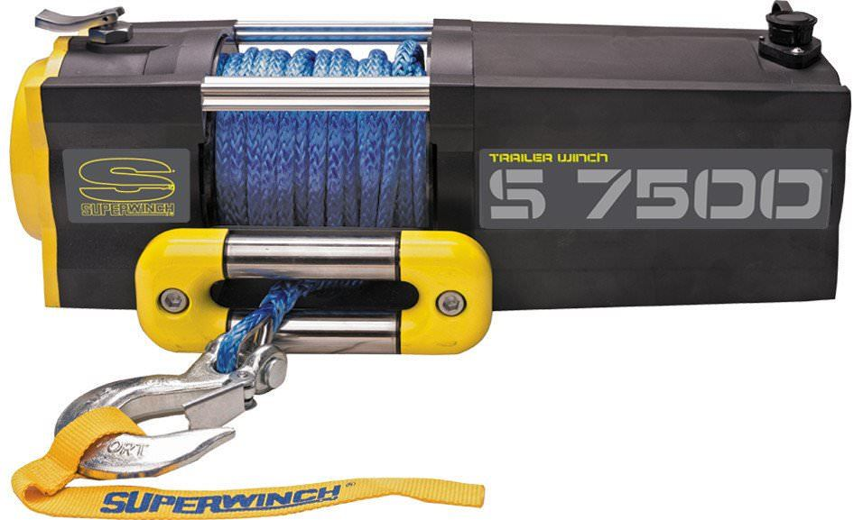 Superwinch 1475201 Winch, S7500, 7500 lb Capacity, Roller Fairlead, 30 ft Remote, 5/16 in x 55 ft Nylon Rope, 12V, Kit