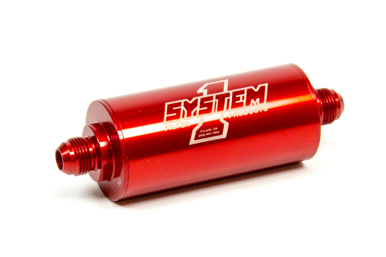 System One 201-203408 Fuel Filter, Medium Billet, In-Line, 35 Micron, Stainless Element, 8 AN Male Inlet, 8 AN Male Outlet, Aluminum, Red Anodize, Each