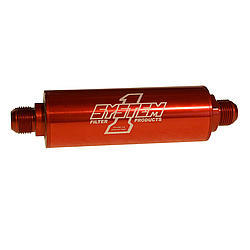 System One 202-202712 Oil Filter, Long Billet, In-Line, 75 Micron Stainless Screen, 12 AN Male Inlet, 12 AN Male Outlet, Aluminum, Red Anodize, Each