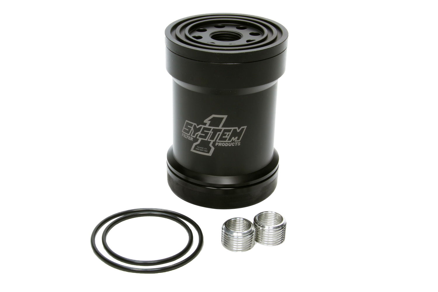 System One 209-561B Oil Filter, Canister, Screw-On, 5-3/4 in Tall, 1-12 in Thread, 45 Micron Replaceable Element, Aluminum, Black Anodized, Universal, Each