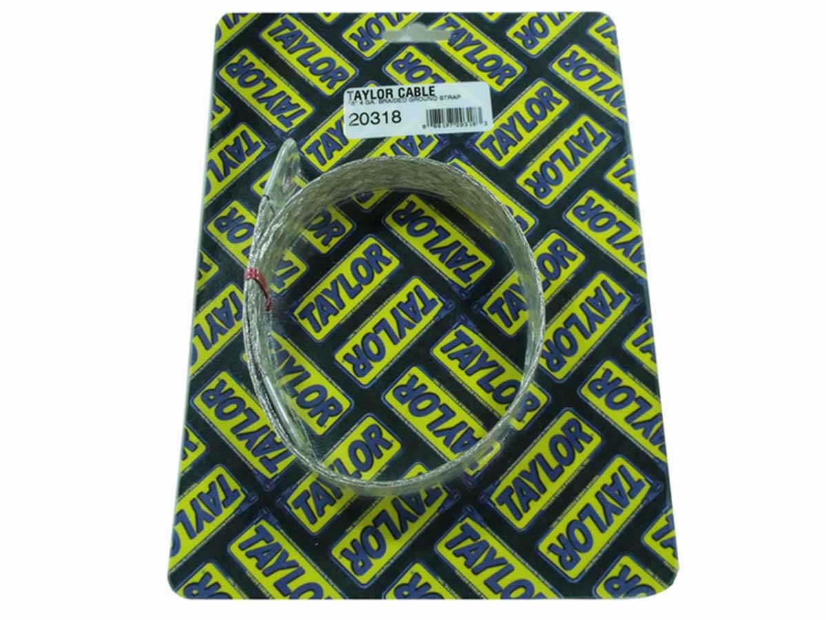 Taylor 20318 Ground Strap, Flat Braided, 4 Gauge, 18 in Long, Eyelet Terminals, Tin Coated Copper, Natural, Each