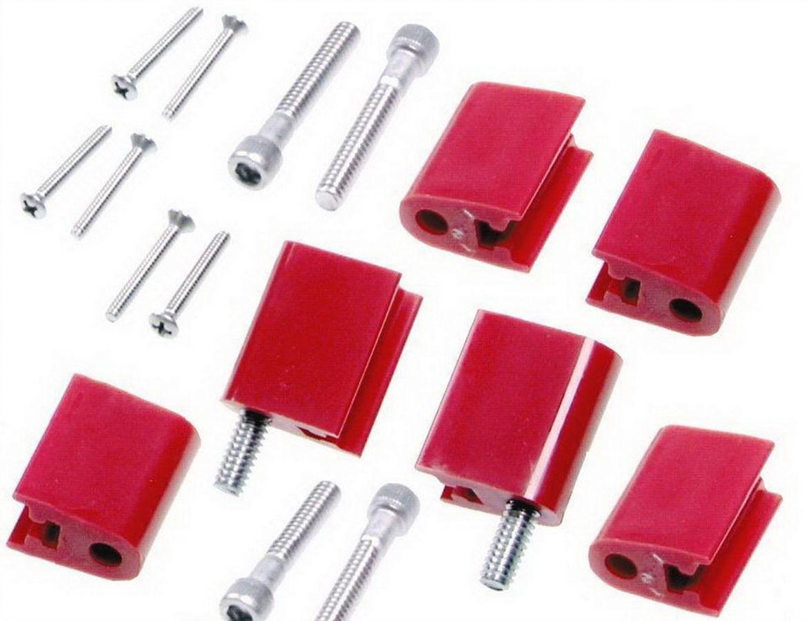 Taylor 42726 Wire Loom Bracket, Valve Cover Mount, Hardware Included, Vertical, Nylon, Red, Mounts Clamp Style Separators, Set of 6