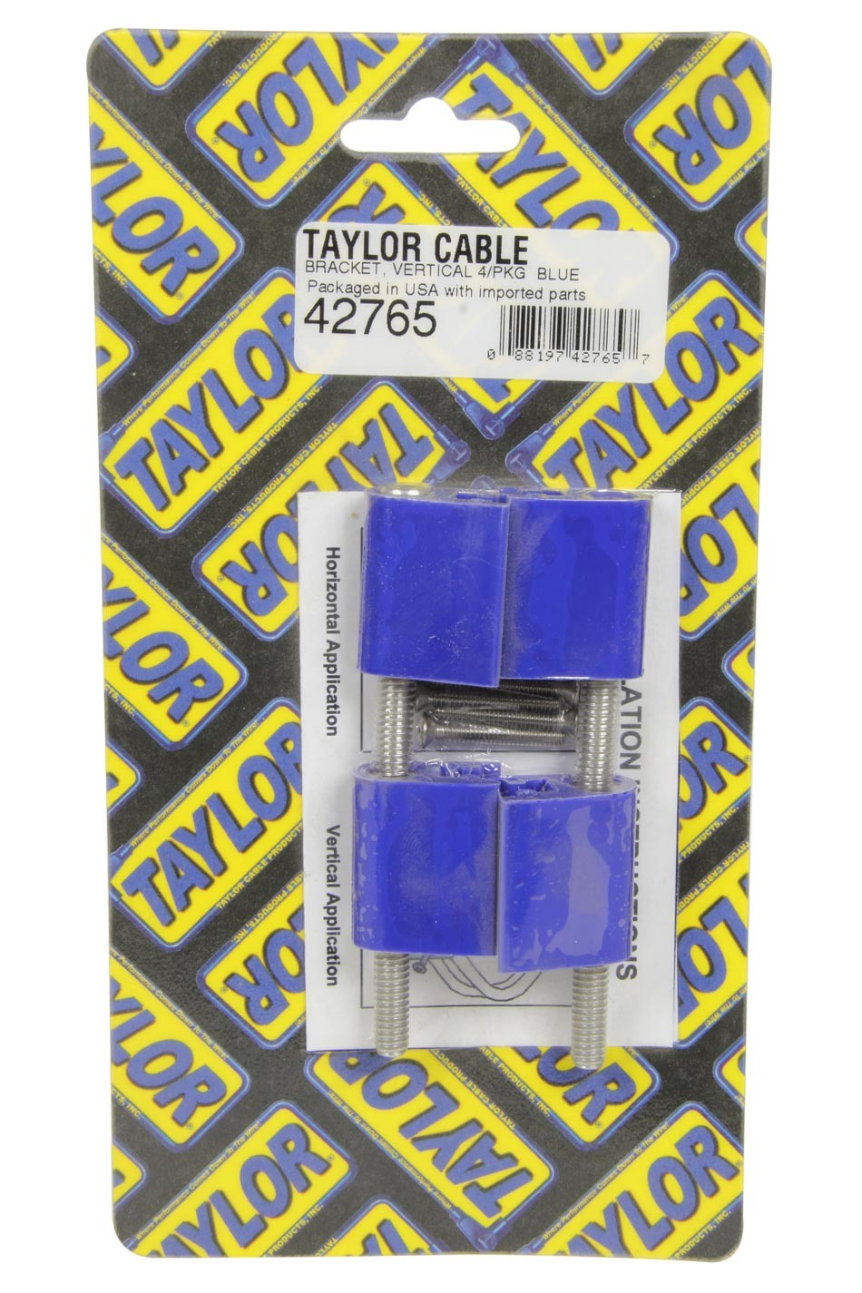 Taylor 42765 Wire Loom Bracket, Valve Cover Mount, Hardware Included, Vertical, Nylon, Blue, Mounts Clamp Style Separators, Set of 4