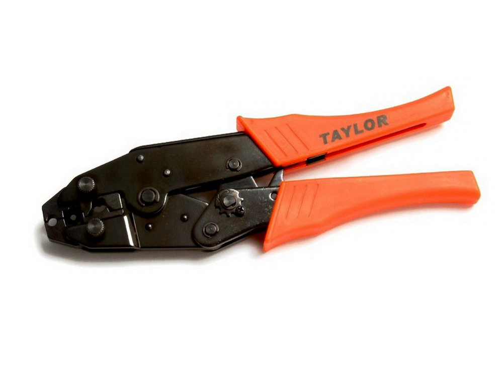 Taylor 43400 Wire Crimping Tool, Professional, Heavy Duty, Steel Frame, Insulated Handles, Ratcheting, Each