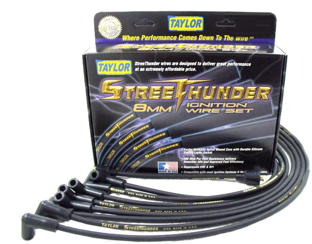 Taylor 53010 Spark Plug Wire Set, Street Thunder, Spiral Core, 8.00 mm, Black, Factory Style Boots / Terminals, GM V6, GM W-Body 1998-2006, Kit