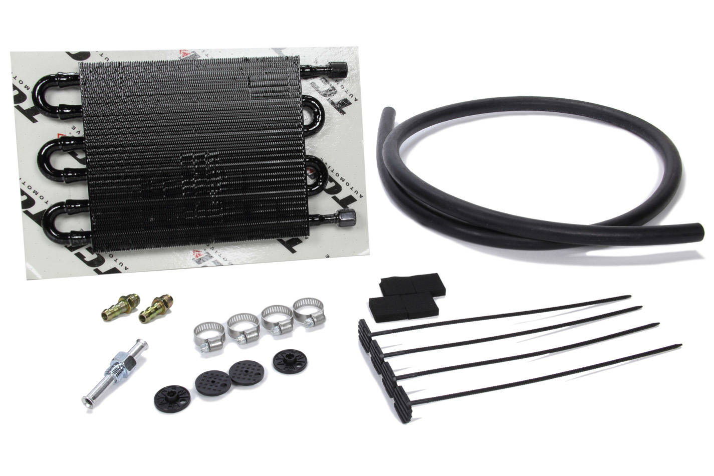 TCI 823500 Fluid Cooler, 16 x 7-1/2 x 3/4 in, Tube Type, 6 AN Female Inlet / Outlet, Aluminum, Black, Automatic Transmission, Kit