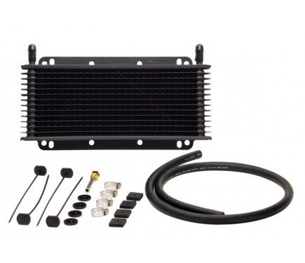 TCI 824102 Fluid Cooler, Max Cool, 11 x 6 x 3/4 in, Plate and Fin Type, 11/32 in Hose Barb Inlet / Outlet, Aluminum, Black, Automatic Transmission, Kit