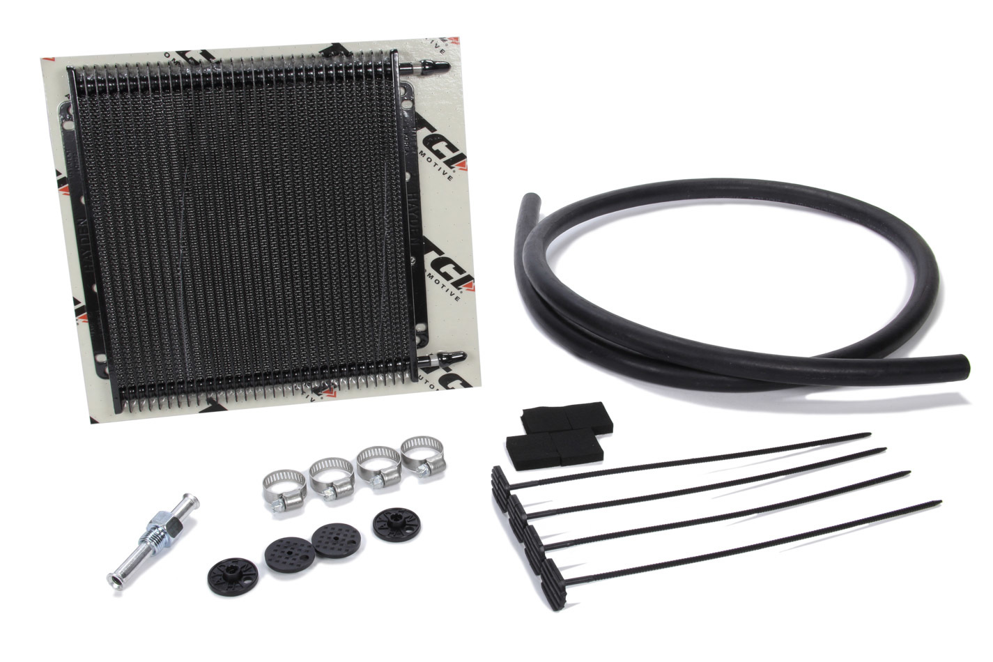 TCI 824104 Fluid Cooler, Max Cool, 11 x 9-1/2 x 3/4 in, Plate and Fin Type, 11/32 in Hose Barb Inlet / Outlet, Fitting / Hardware / Hose, Aluminum, Black, Automatic Transmission, Kit