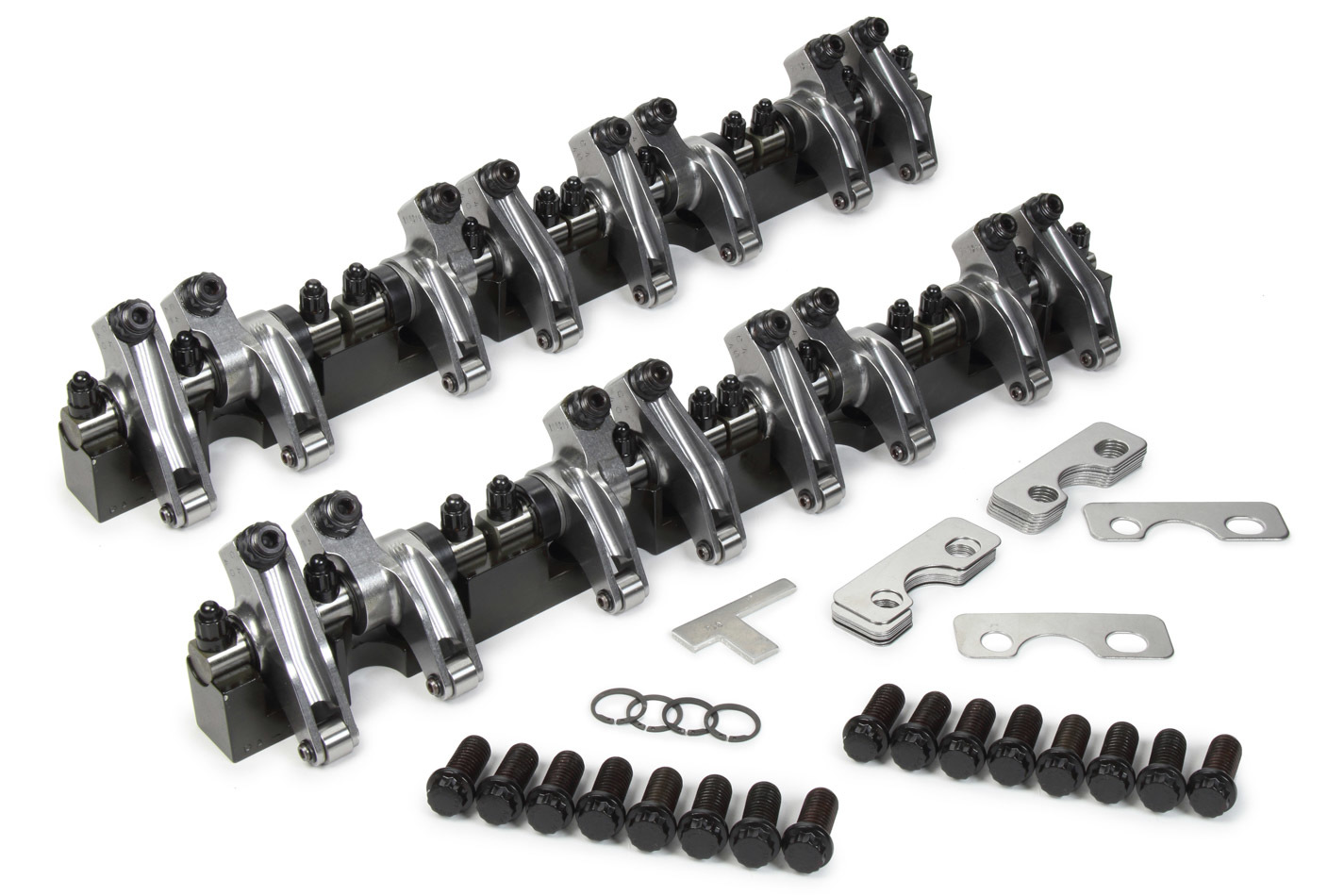 T&D Machine 2126S-165PLUS100/155 Rocker Arm, Shaft Mount, 1.65 Ratio, Full Roller, Aluminum, Natural, Aluminum 13 Degree Dart, Small Block Chevy, Kit