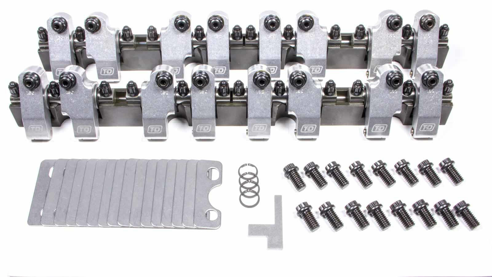 T&D Machine 2300-160/160 Rocker Arm, Shaft Mount, 1.60 Ratio, Full Roller, Aluminum, Natural, AFR 227 / 235, Small Block Chevy, Kit