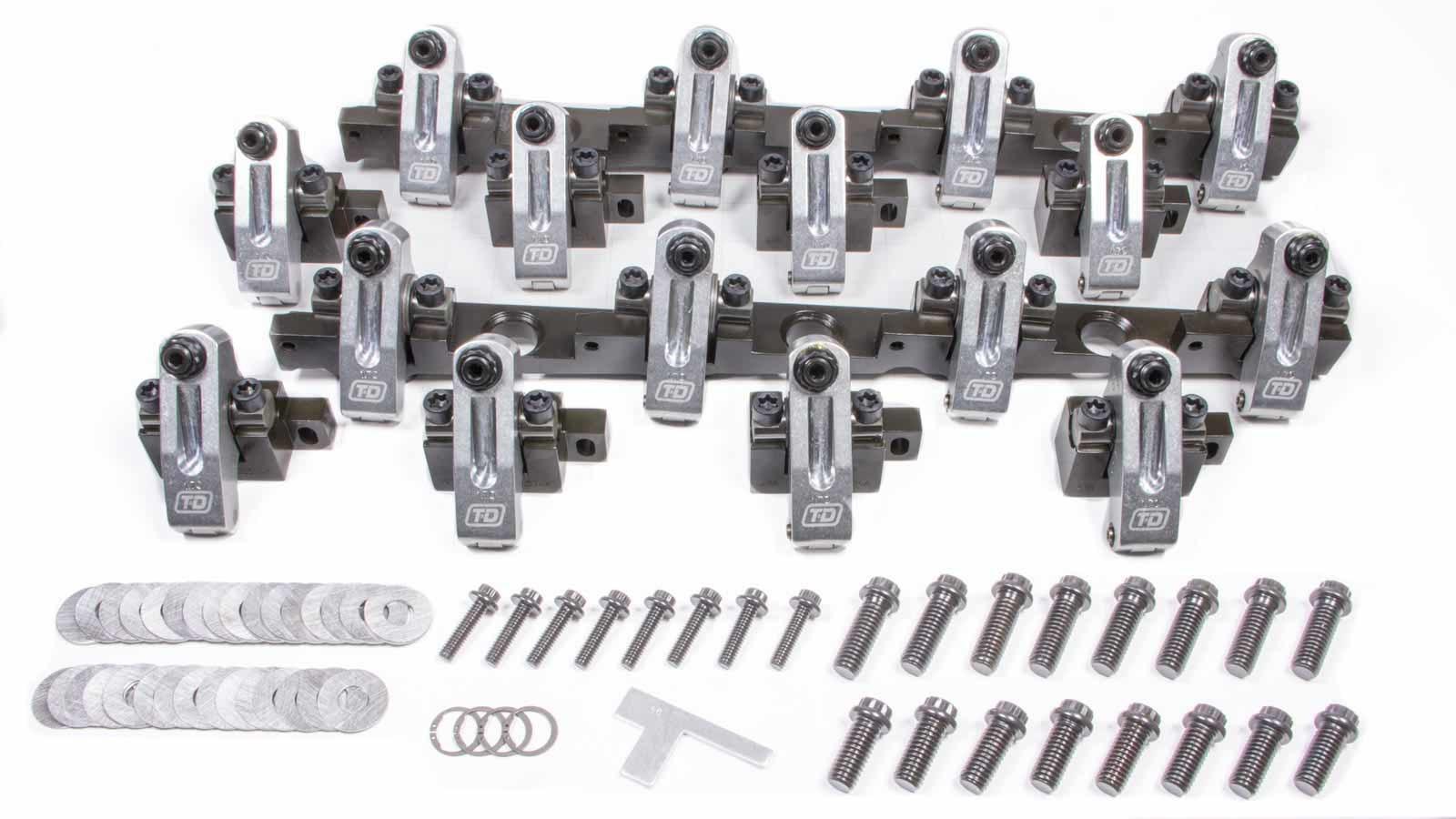 T&D Machine 3104-170/170 Rocker Arm, Shaft Mount, 1.70 Ratio, Full Roller, Aluminum, Natural, Brodix 2x / 2Xtra, Big Block Chevy, Kit