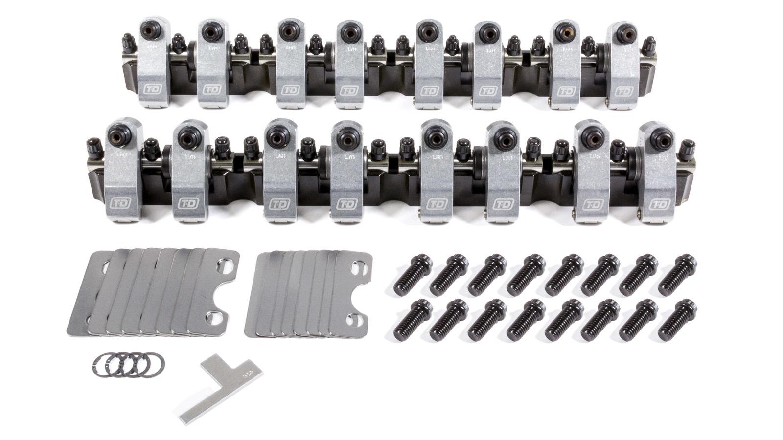 T&D Machine 7304-170/160 Rocker Arm, Shaft Mount, 1.70 / 1.60 Ratio, Full Roller, Aluminum, Natural, Edelbrock Victor Jr Heads, Small Block Ford, Kit