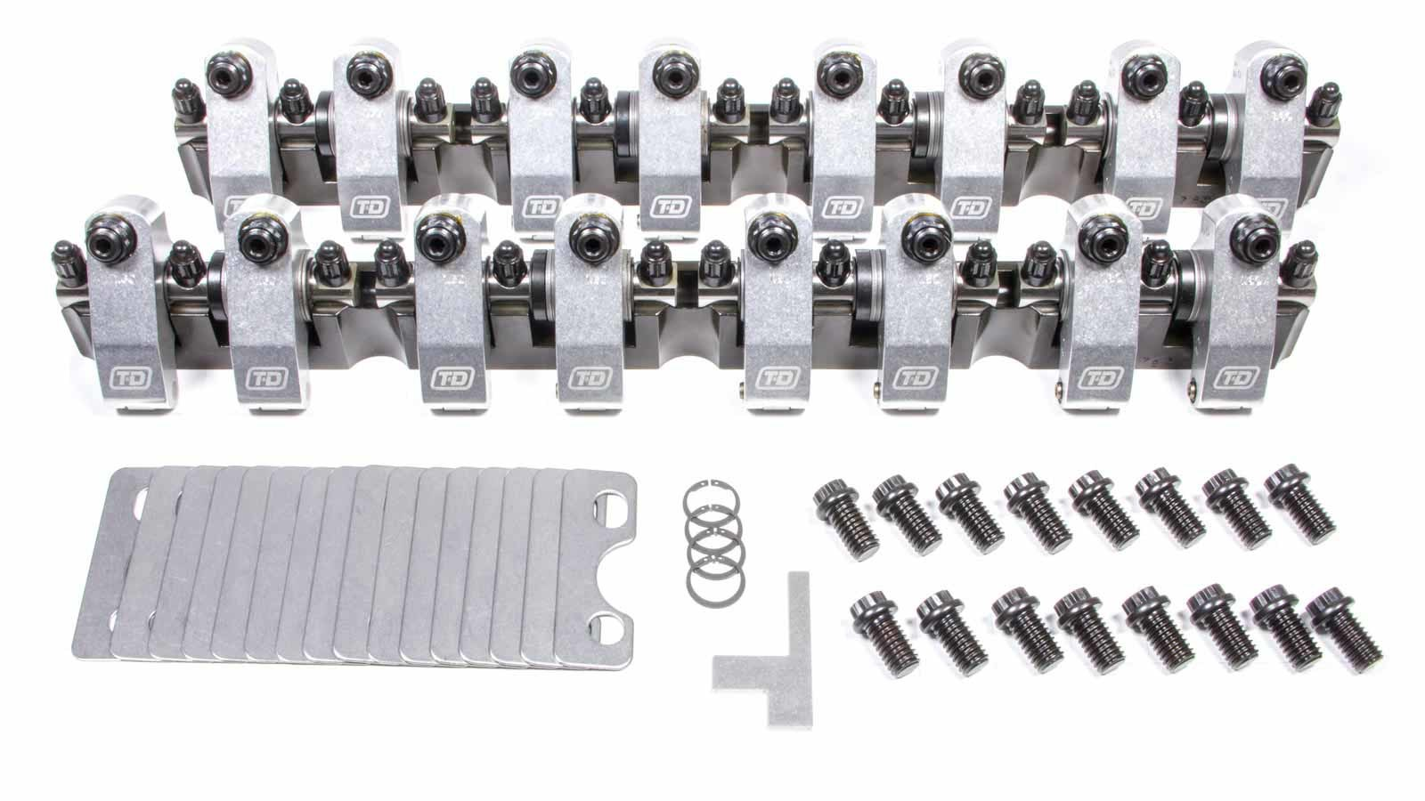 T&D Machine 7341-165/165 Rocker Arm, Shaft Mount, 1.65 Ratio, Full Roller, Aluminum, Natural, AFR 205 / 220 Big Valve, Small Block Ford, Kit