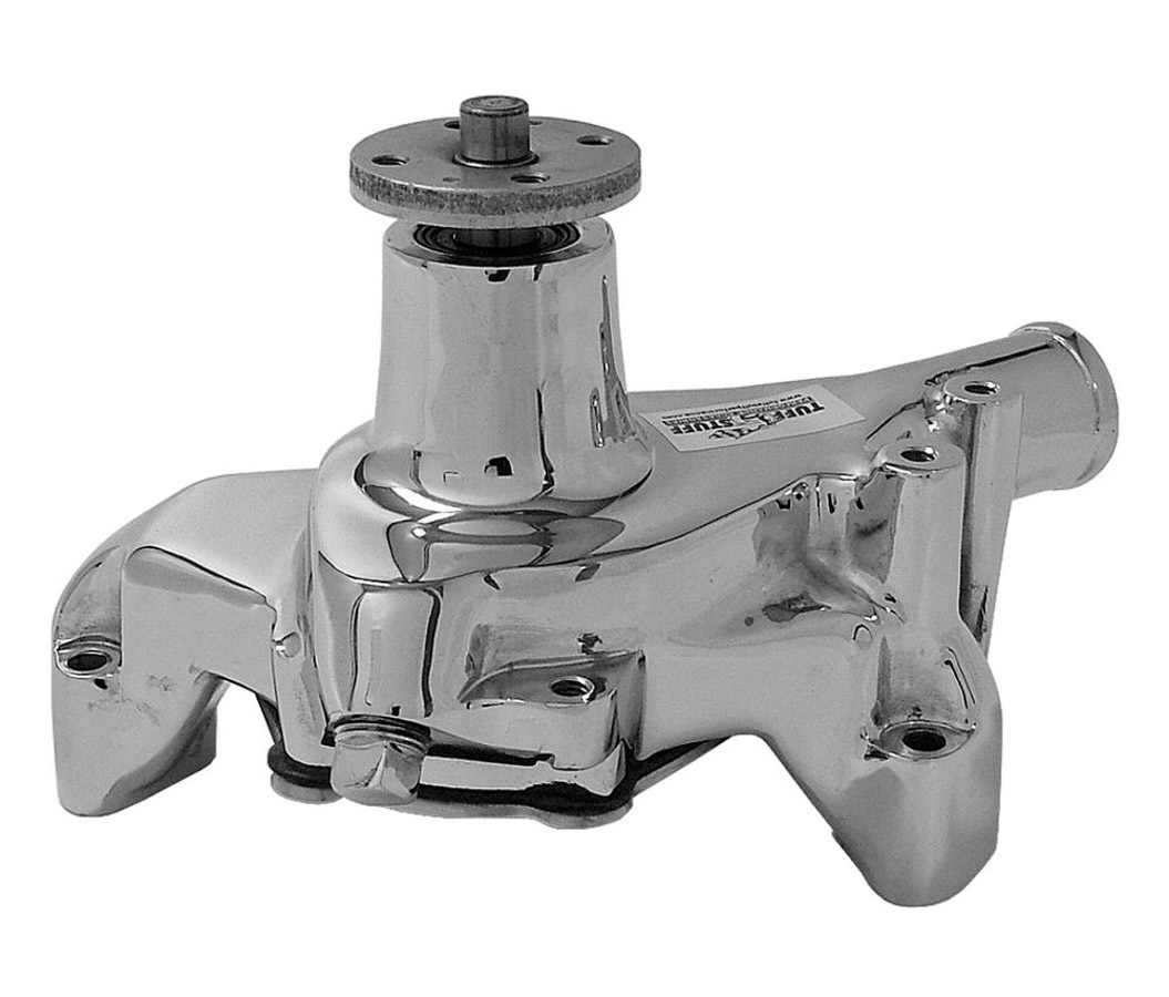 Tuff-Stuff 1449NB Water Pump, Mechanical, SuperCool, High Volume, Long Design, Iron, Chrome, Small Block Chevy, Each