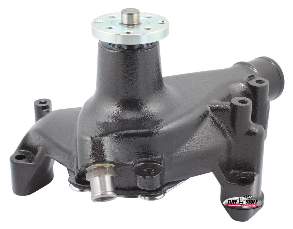 Tuff-Stuff 1449NC Water Pump, Mechanical, SuperCool, High Volume, Long Design, Iron, Black Powder Coat, Small Block Chevy, Each