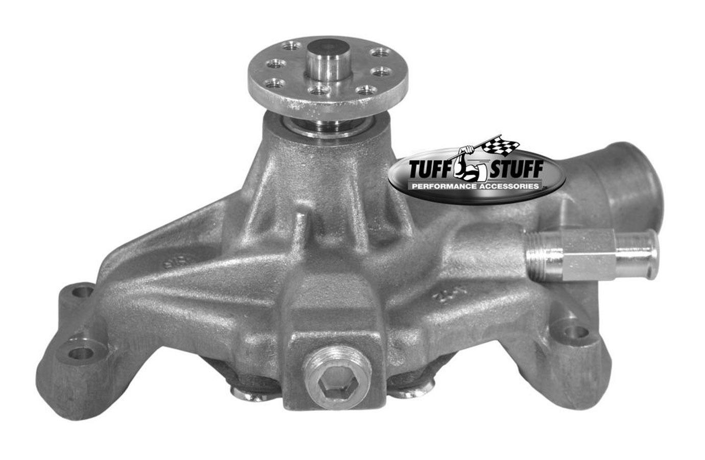 Tuff-Stuff 1534N Water Pump, Mechanical, SuperCool, High Volume, Short Design, Iron, Natural, Small Block Chevy, Each