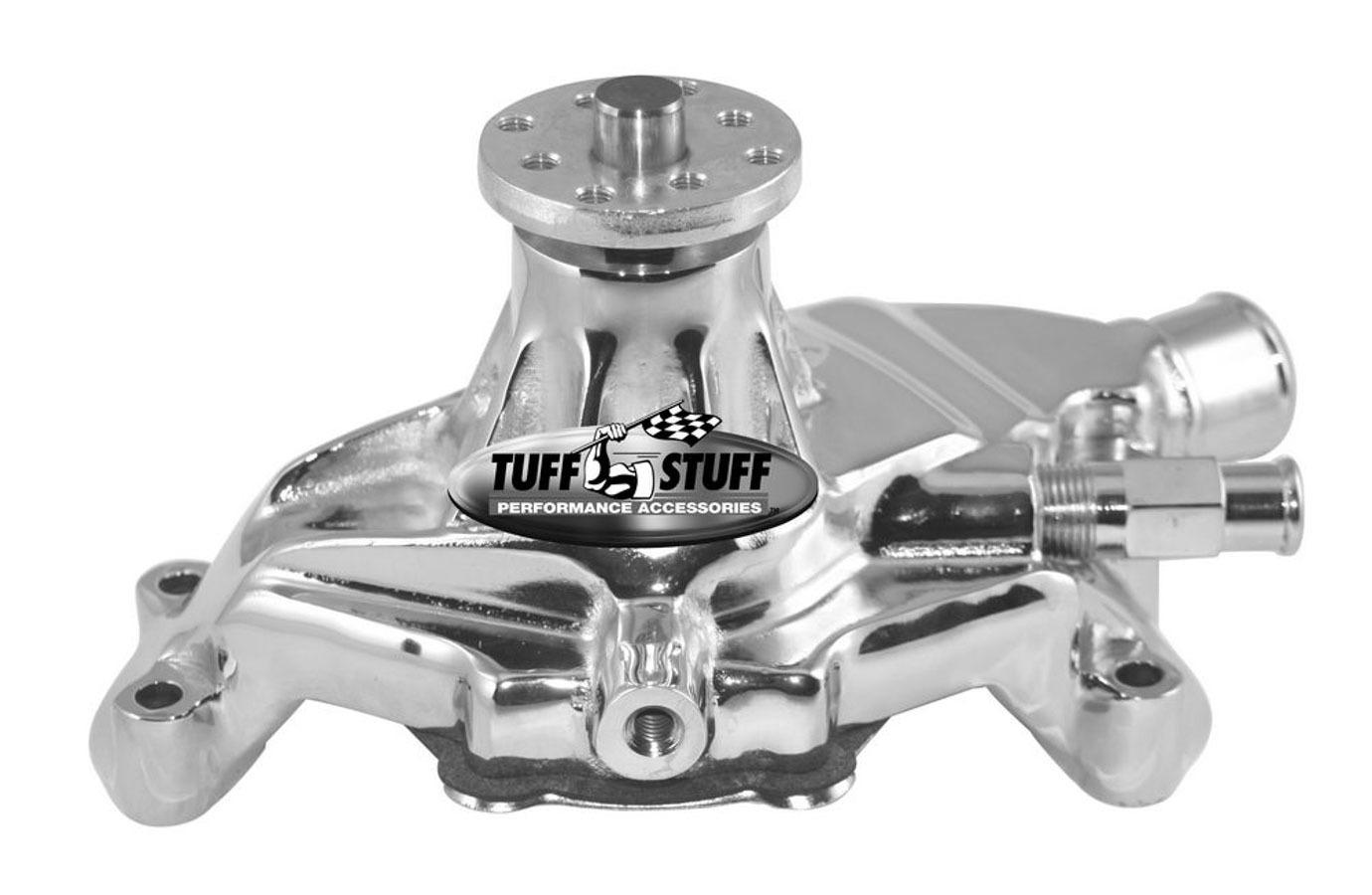 Tuff-Stuff 1635ND Water Pump, Mechanical, 3/4 in Pilot, Short Design, Aluminum, Polished, Small Block Chevy, Chevy Corvette 1984-91, Each
