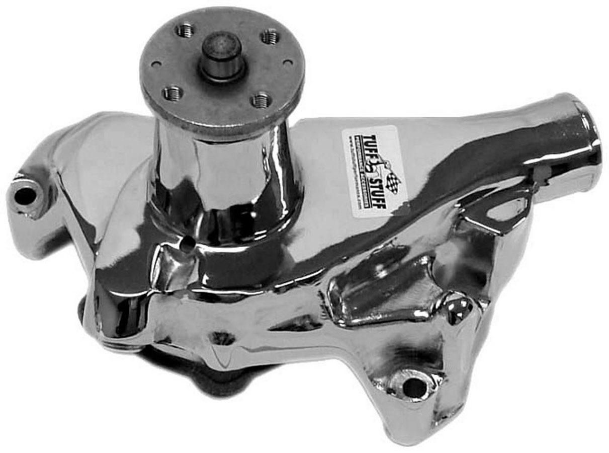 Tuff-Stuff 1675NA Water Pump, Mechanical, Standard, Reverse Rotation, Long Design, Cast Iron, Chrome, Small Block Chevy, Each
