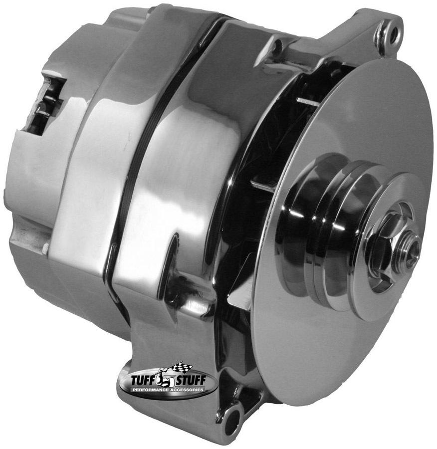 Tuff-Stuff 7102NC Alternator, 100 amp, 12V, External Regulator, Single V-Belt Pulley, Chrome, GM, Each