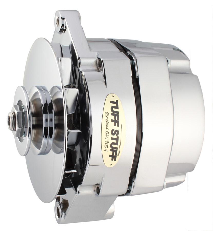 Tuff-Stuff 7127NK12 Alternator, 140 amp, 12V, OEM / 1-Wire, Internal Regulator, Single V-Belt Pulley, Chrome, Various Applications, Each
