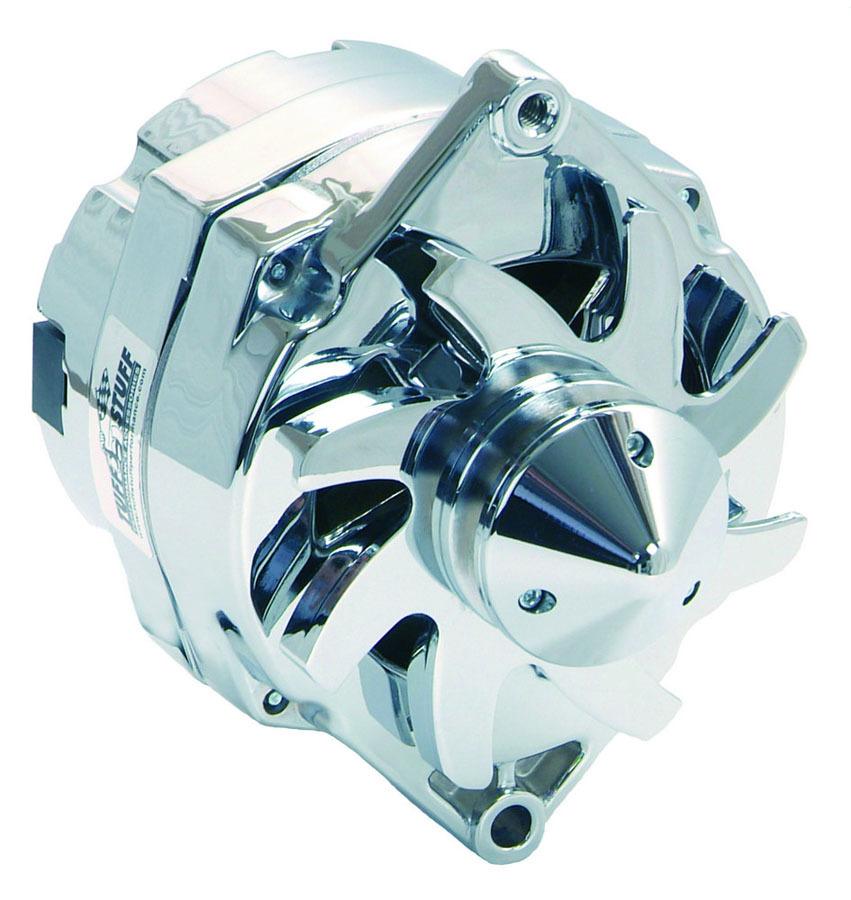Tuff-Stuff 7140ABULL Alternator, 140 amp, 12V, OEM / 1-Wire, Single V-Belt Bullet Nose Pulley, Chrome, GM, Each