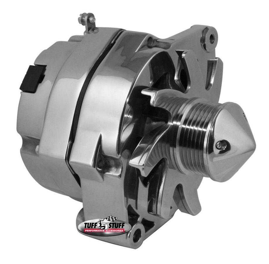 Tuff-Stuff 7140ABULL6G Alternator, 140 amp, 12V, OEM / 1-Wire, 6 Rib Serpentine Bullet Nose Pulley, Chrome, GM, Each