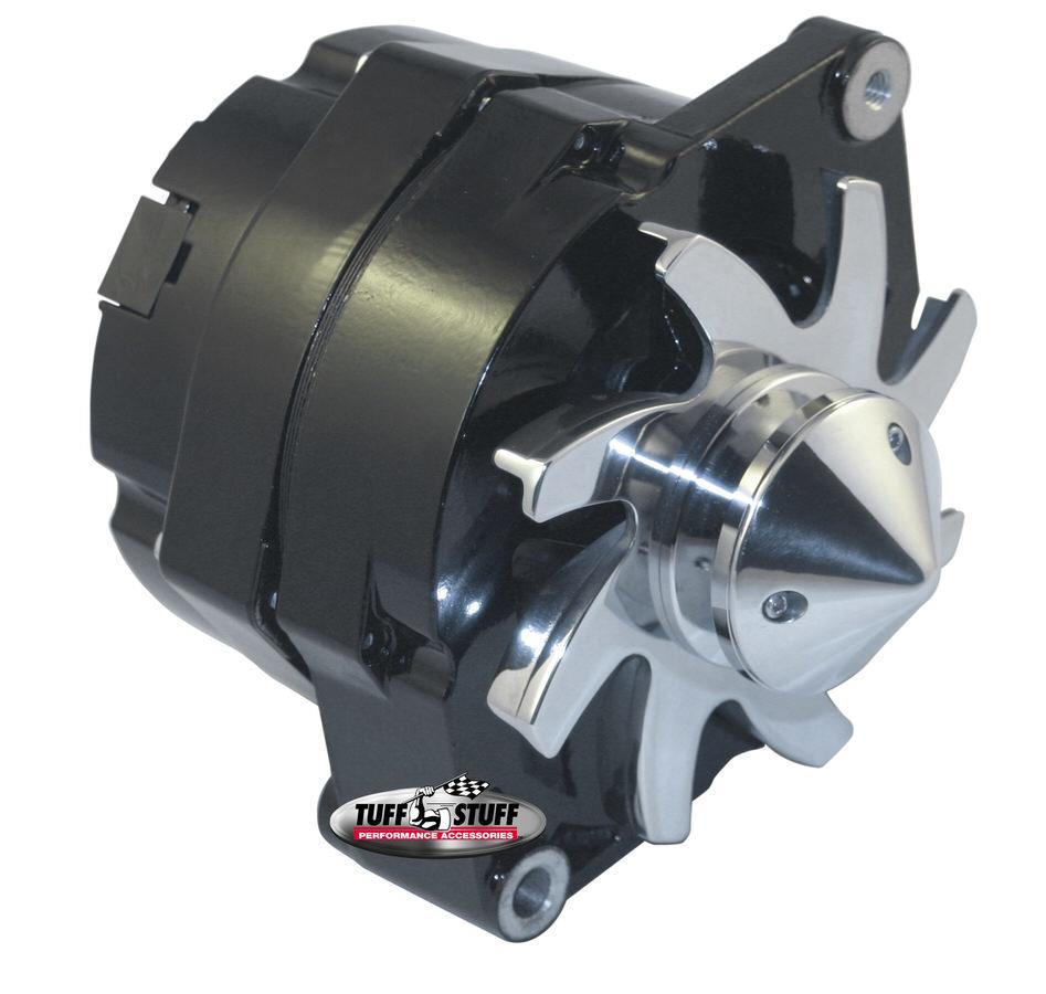 Tuff-Stuff 7140FBULL12 Alternator, Silver Bullet, 140 amp, OEM / 1-Wire, Single V-Belt Bullet Nose Pulley, Aluminum, Black Powder Coat, Various Applications, Each