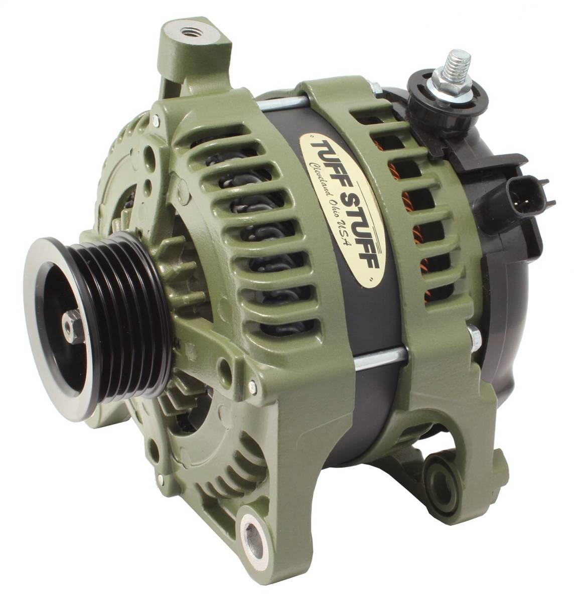 Tuff-Stuff 7513G Alternator, 175 amp, 12V, External Regulator, 6 Rib Serpentine Pulley, Army Green, Jeep Wrangler JK 2007-11, Each