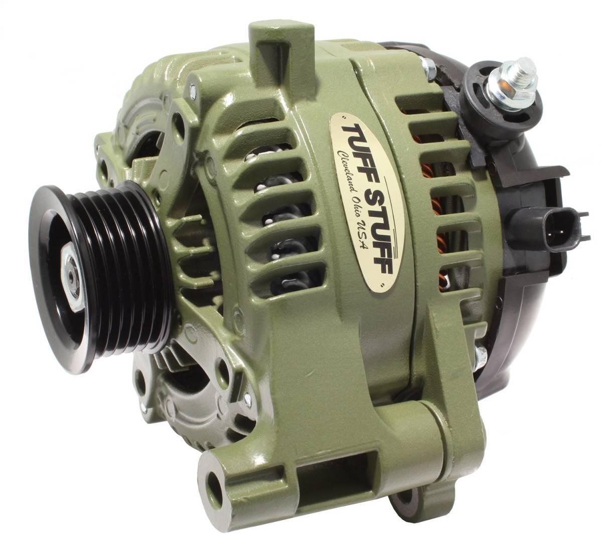 Tuff-Stuff 7514G Alternator, 175 amp, 12V, External Regulator, 6 Rib Serpentine Pulley, Army Green, Jeep Wrangler JK 2012-18, Each