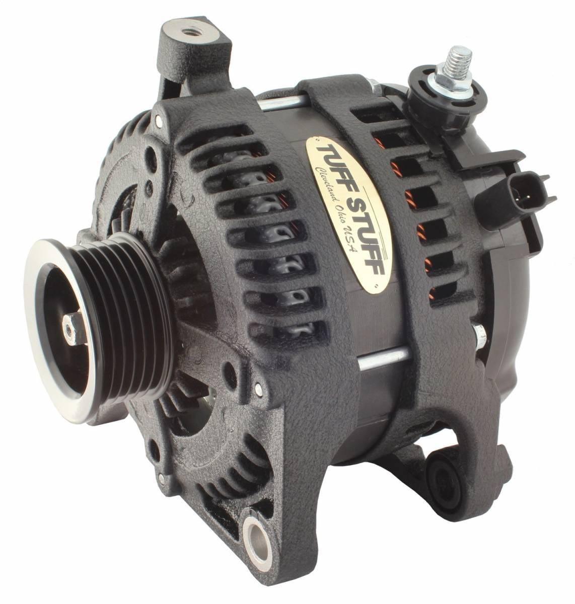 Tuff-Stuff 7515B Alternator, 250 amp, 12V, External Regulator, 6 Rib Serpentine Pulley, Black Wrinkle, Jeep Wrangler JK 2007-11, Each