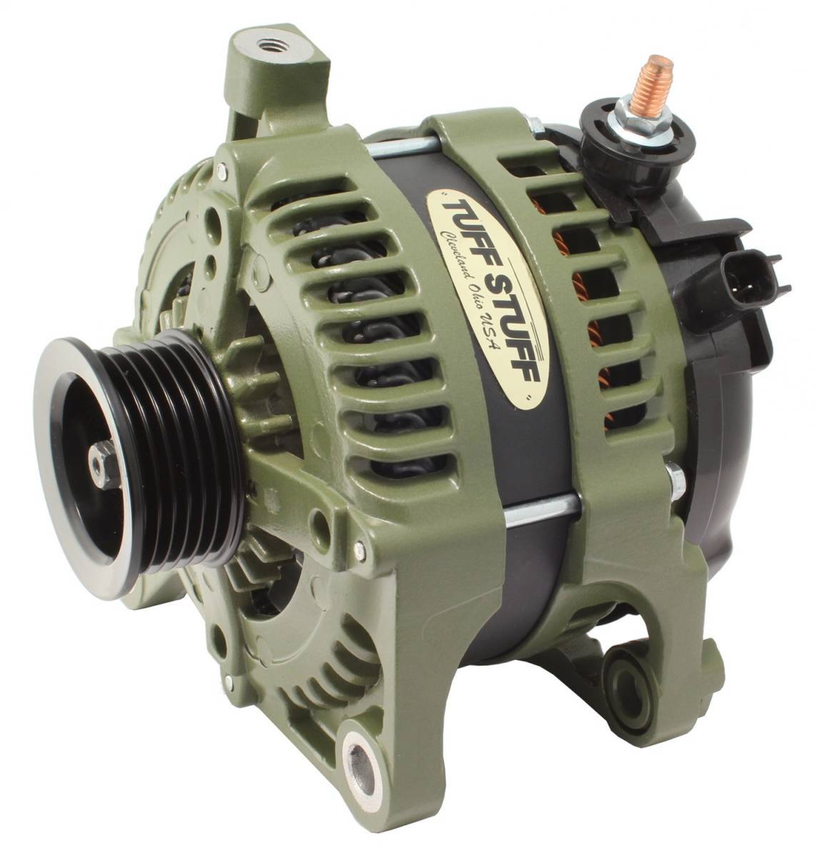 Tuff-Stuff 7515G Alternator, 250 amp, 12V, External Regulator, 6 Rib Serpentine Pulley, Army Green, Jeep Wrangler JK 2007-11, Each