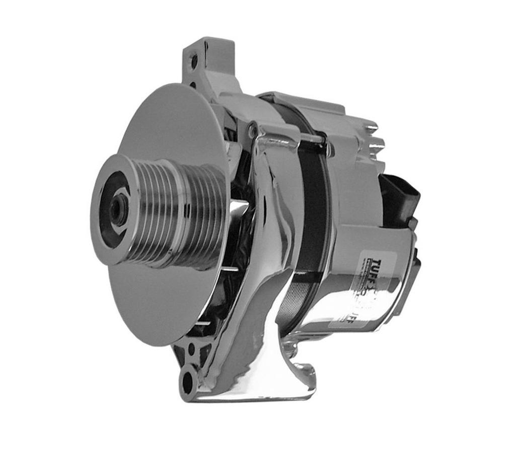 Tuff-Stuff 7716B Alternator, 100 amp, 12V, Internal Regulator, 6 Rib Serpentine Pulley, Chrome, Ford, Each