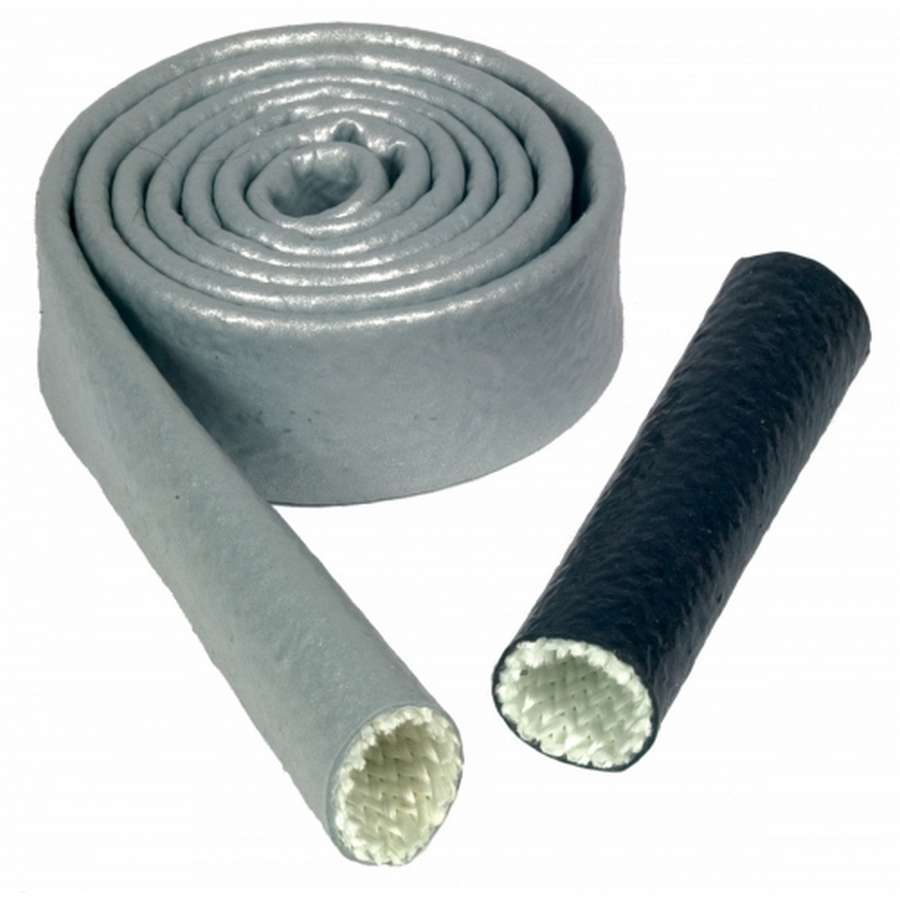 Thermo Tec 18101 Hose and Wire Sleeve, Heat Sleeve, 1 in ID, 3 ft, Silicone / Fiberglass, Silver, Each