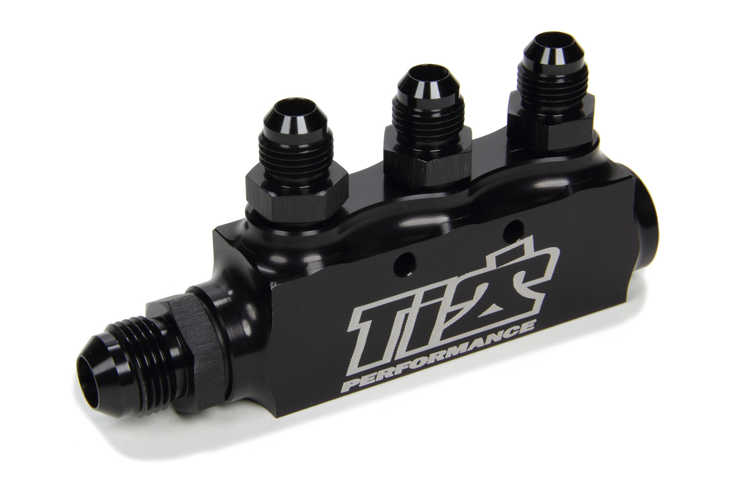 Ti22 Performance 5500 Fuel Block, Three 6 AN Female Ports, One 8 AN Female Port, Male Adapter Fittings Included, One 8 AN Male Fitting, Aluminum, Black Anodized, Each