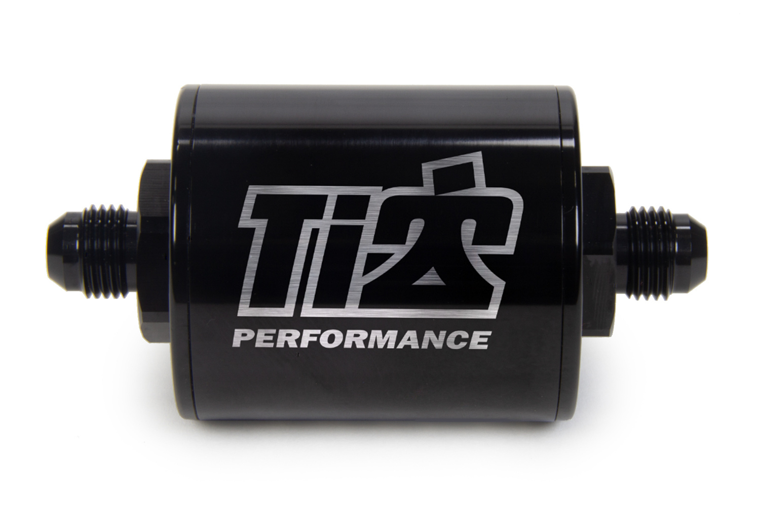 Ti22 Performance 5526 Fuel Filter, In-Line, 70 Micron, Stainless Element, 6 AN Male Inlet, 6 AN Male Outlet, Aluminum, Black Anodize, Each