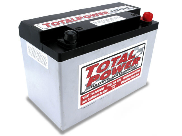 Total Power Battery TP1500 Battery, Racing, AGM, 12V, 790 Cranking amp, Threaded Terminals, 9.875 in L x 6.875 in H x 5.25 in W, Each