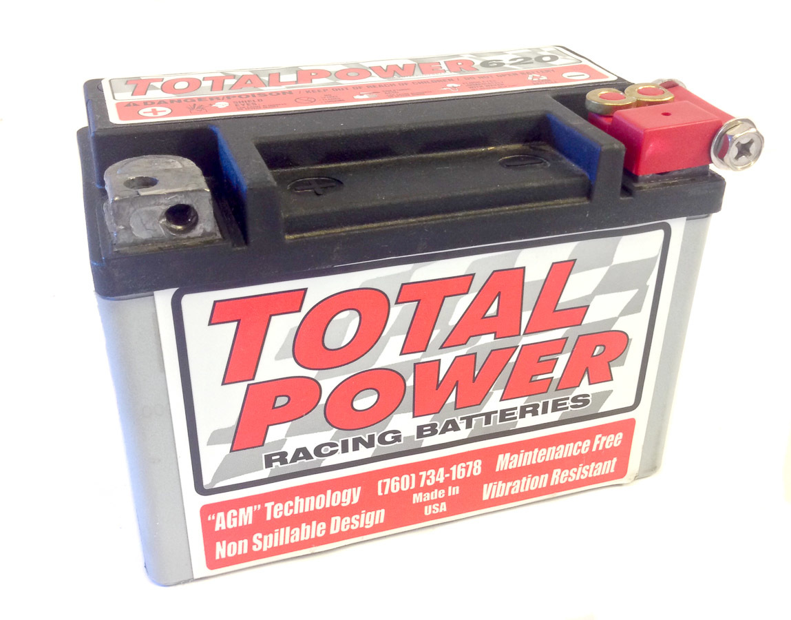 Total Power Battery TP620 Battery, Racing, AGM, 12V, 620 Cranking Amp, Threaded Terminals, 5.875 in L x 4.312 in H x 3.437 in W, Each