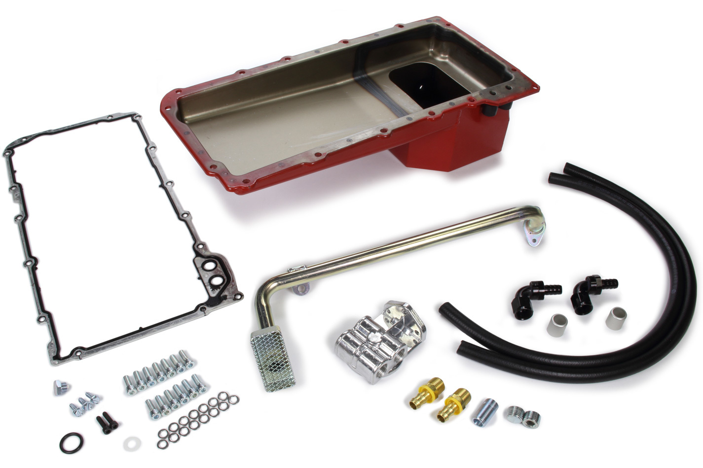 Trans Dapt 176 Engine Oil Pan Kit, Fabricated, Rear Sump, 5 qt, 6 in Deep, Single Filter, Horizontal Port, Gasket / Hardware / Oil Filter Relocation System / Pickup, Steel, Red Paint, GM LS-Series, GM F-Body 1967-69, Kit