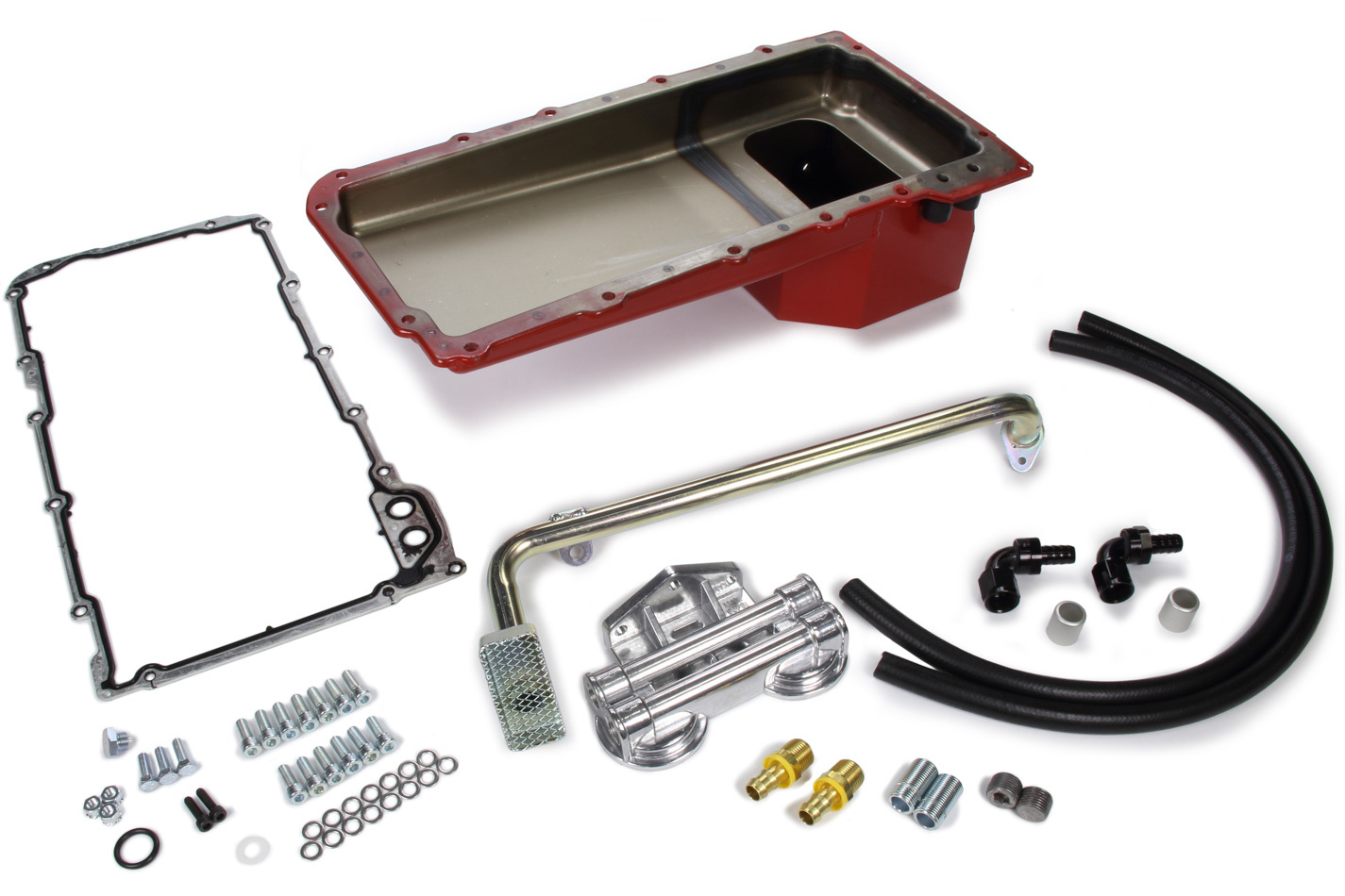Trans Dapt 177 Engine Oil Pan Kit, Fabricated, Rear Sump, 5 qt, 6 in Deep, Double Filter, Horizontal Port, Gasket / Hardware / Oil Filter Relocation System / Pickup, Steel, Red Paint, GM LS-Series, GM F-Body 1967-69, Kit