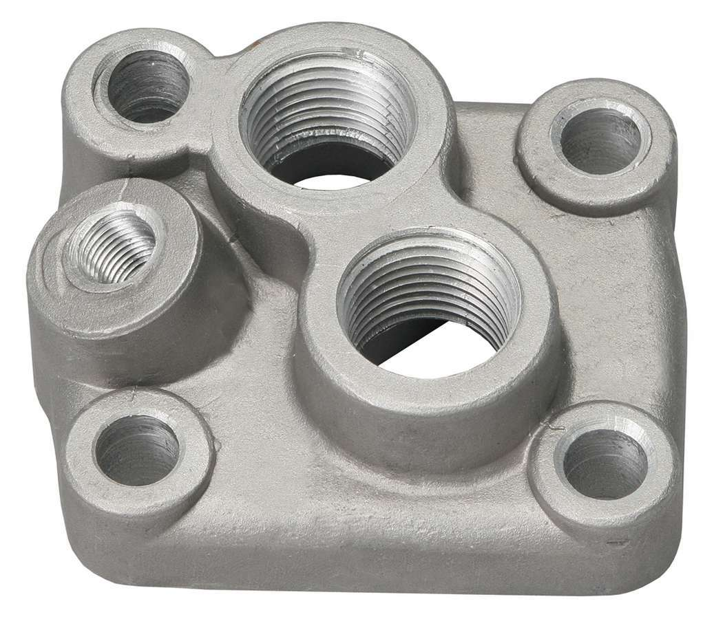 Trans Dapt 1015 Oil Filter Adapter, Bypass, Block Mount, 1/2 in NPT Female Inlet, 1/2 in NPT Female Outlet, 1/8 in NPT Port, Aluminum, Natural, Ford FE-Series, Each