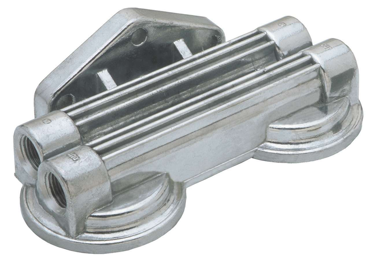 Trans Dapt 1030 Oil Filter Mount, Dual Filter, Four 1/2 in NPT Female Ports, 3/4-16 in Center Threads, Aluminum, Natural, Universal, Each