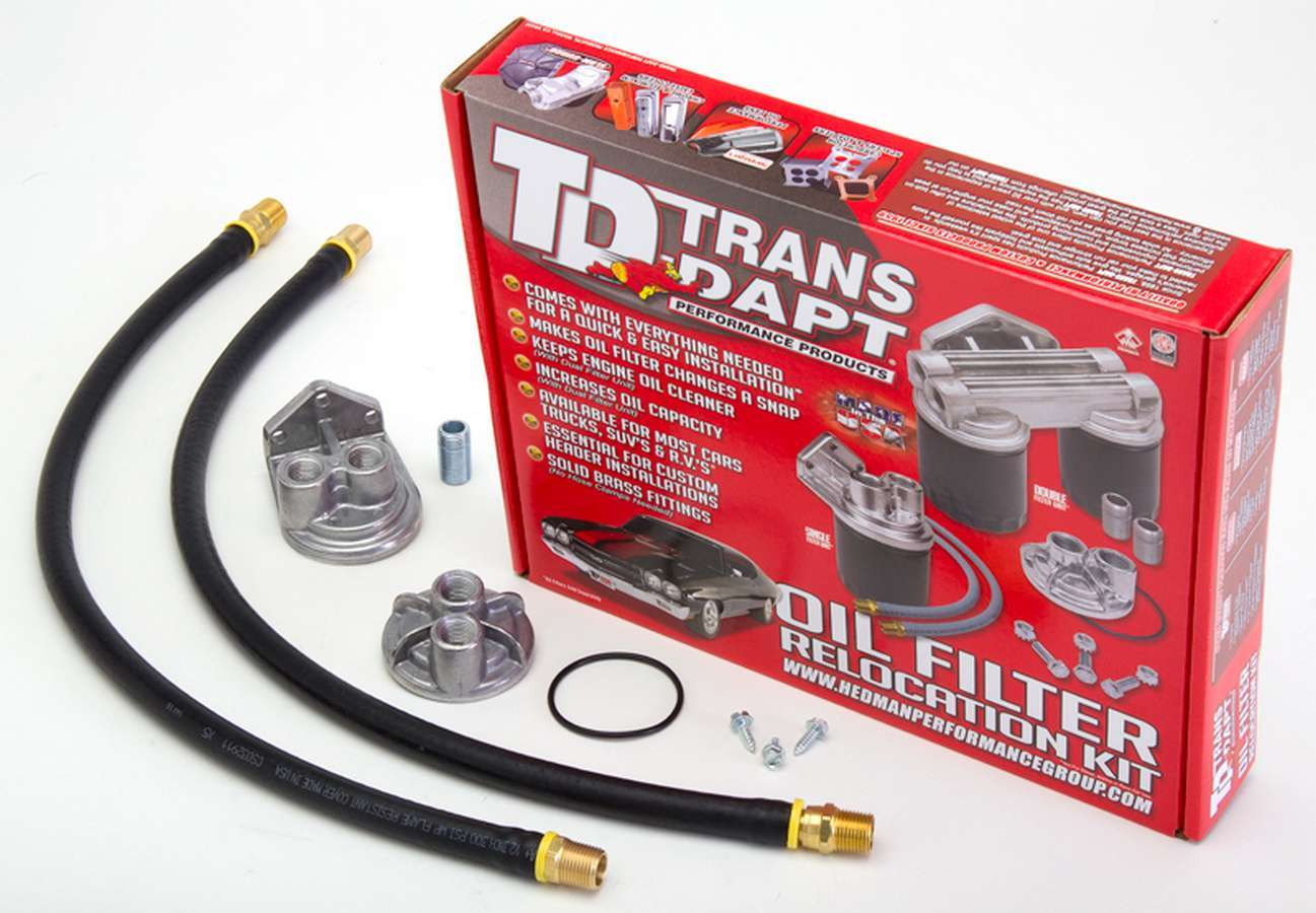 Trans Dapt 1158 Remote Oil Filter, Single Filter, 20 mm x 1.50 Thread Adapter, Two 30 in Hoses, 3/4-16 in Thread Housing, Fittings / Hardware, Universal, Kit
