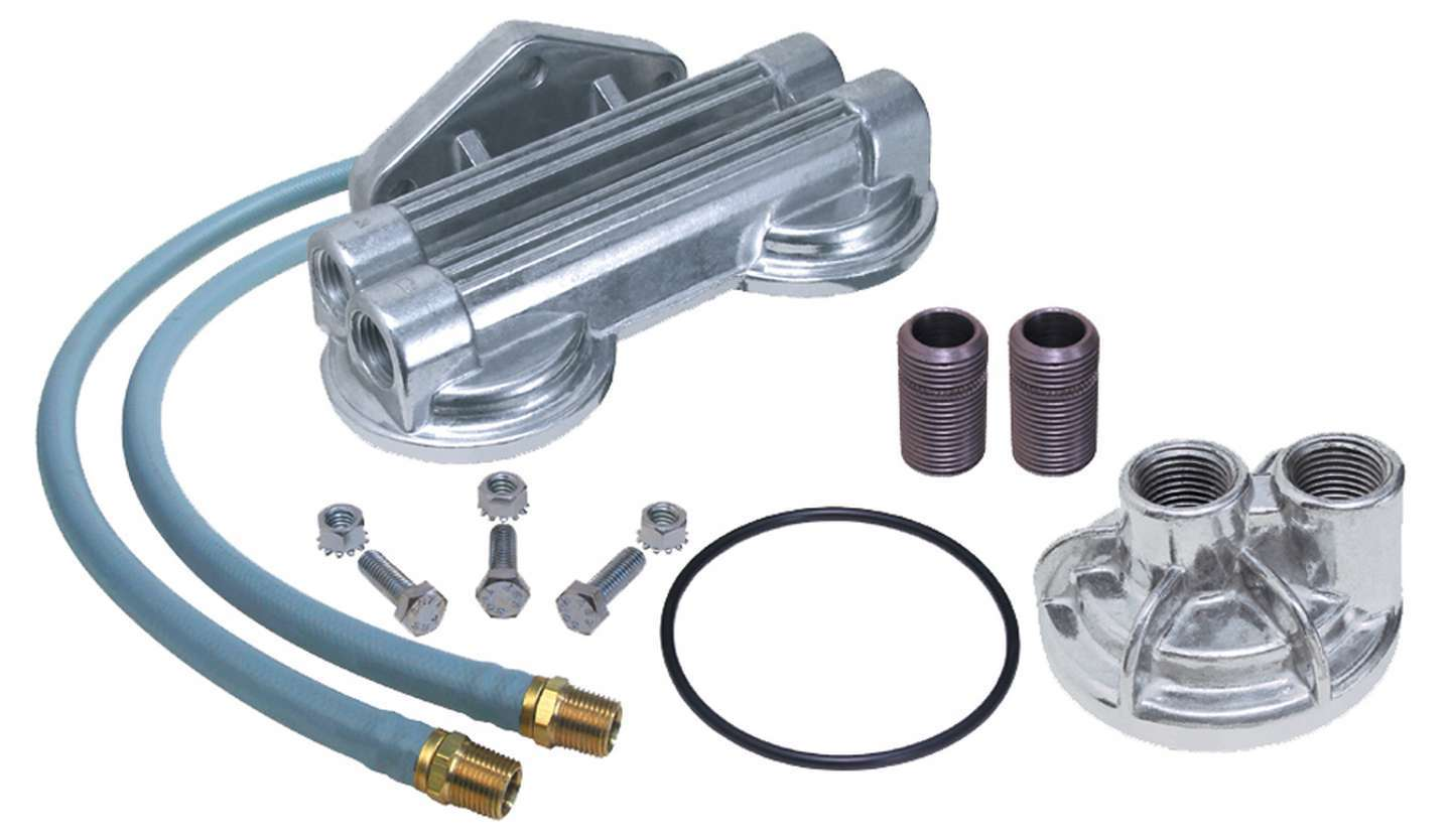 Trans Dapt 1213 Remote Oil Filter, Double Filter, 3/4-16 in Thread Adapter, Two 30 in Hoses, 3/4-16 in Thread Housing, Fittings / Hardware, Various Applications, Kit