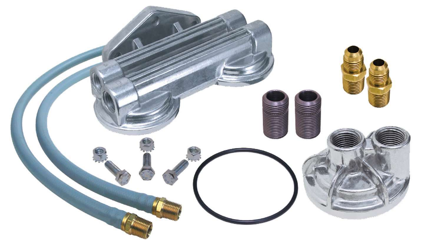 Trans Dapt 1222 Remote Oil Filter, Double Filter, 13/16-16 in Thread Adapter, Two 30 in Hoses, 3/4-16 in Thread Housing, Fittings / Hardware, Chevy V8, Kit