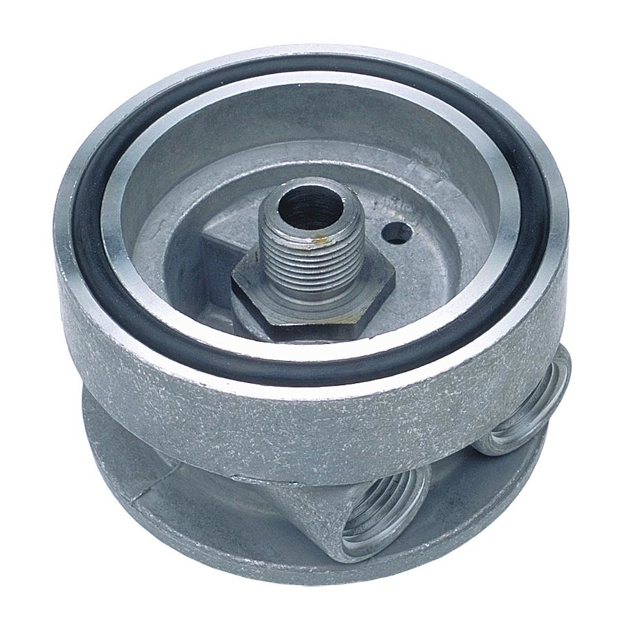 Trans Dapt 1322 Oil Cooler Adapter, Sandwich, 13/16-16 in Center Thread, 1/2 in NPT Female Inlet, 3/8 in NPT Female Outlet, 2-1/4 in Thick, Aluminum, Natural, Chevy V8, Each