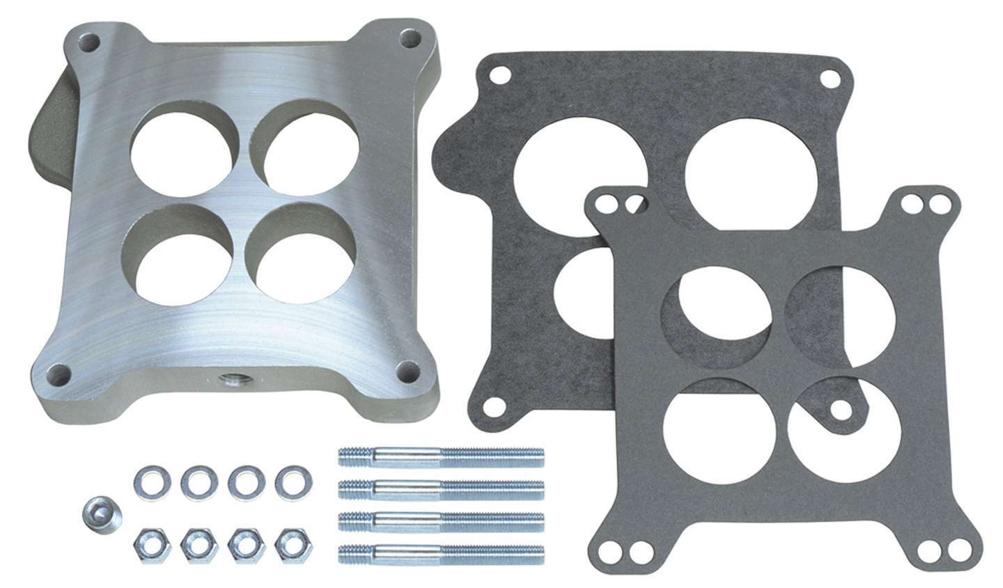 Trans Dapt 2199 Carburetor Adapter, 15/16 in Thick, 4 Hole, Square Bore to Ford Autolite 4-Barrel, Gasket/Hardware, Aluminum, Natural, Each