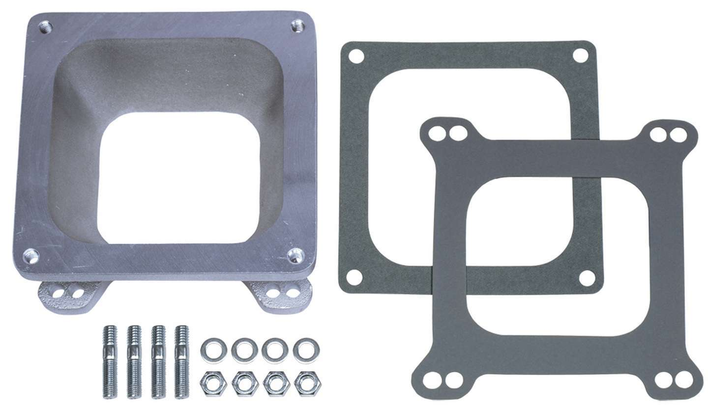 Trans Dapt 2281 Carburetor Adapter, 2-1/8 in Thick, Open, Dominator to Square Bore, Gasket/Hardware, Aluminum, Natural, Each