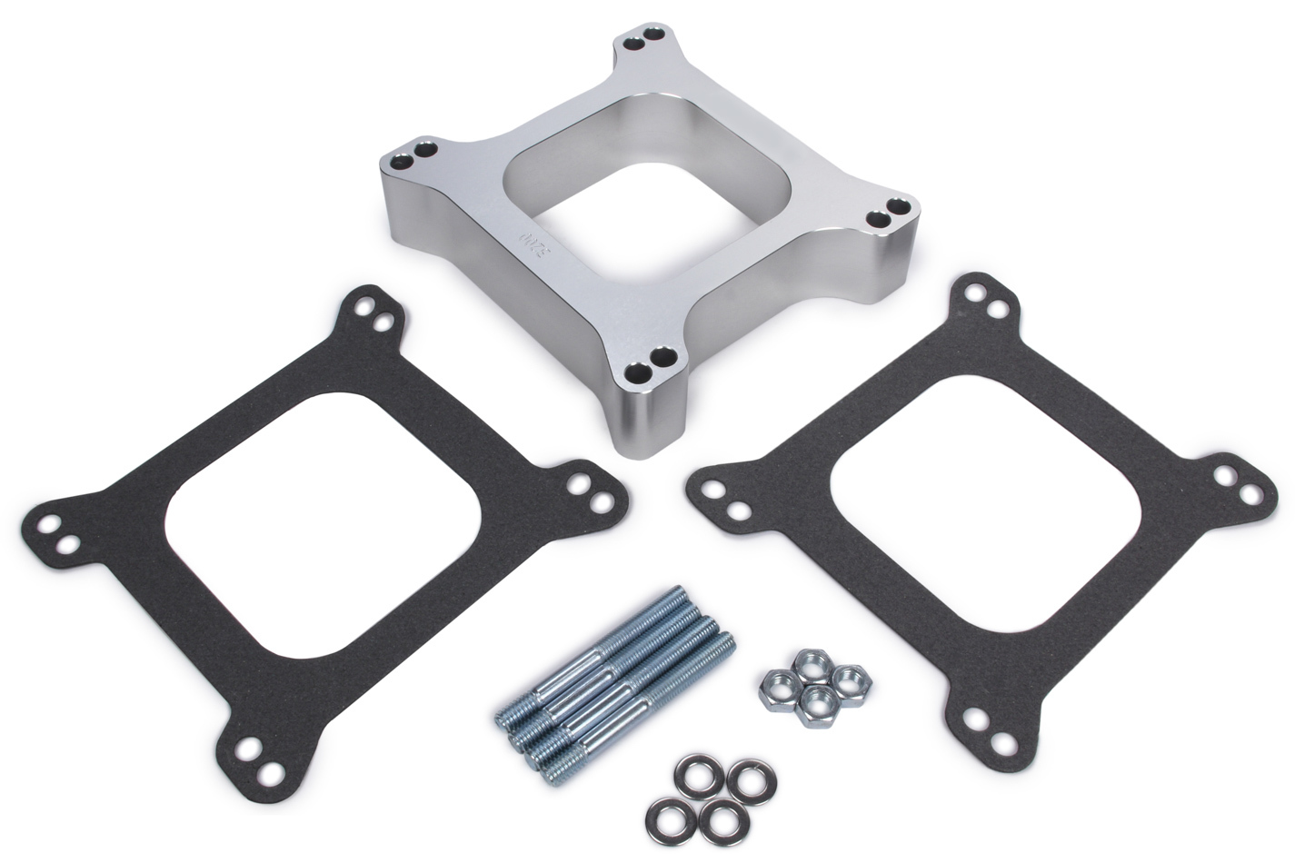 Trans Dapt 3200 Carburetor Spacer, 1-1/2 in Thick, Open, Holley 4-Barrel, Gasket / Hardware Included, Aluminum, Clear Anodize, Each