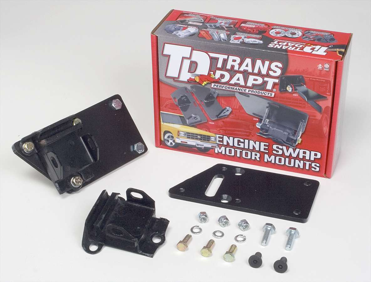 Trans Dapt 4595 Motor Mount, Bolt-On, 1 in Offset, Steel, Rubber Pads, LS-Series Engines to GM 3-Bolt, Kit