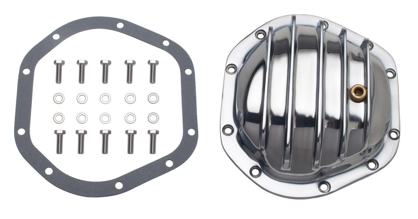 Trans Dapt 4822 Differential Cover, Finned, Gasket / Hardware, Aluminum, Polished, Dana 44, Each